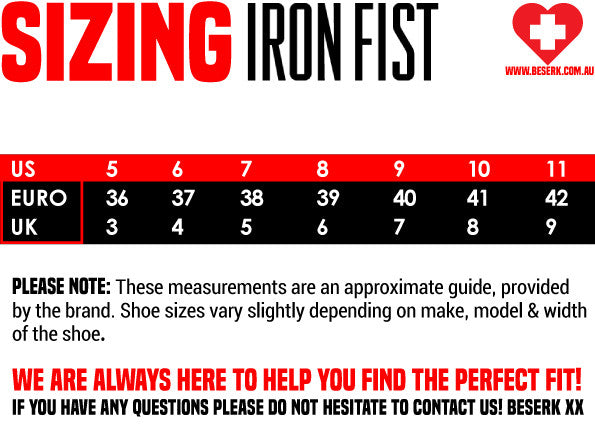 Iron Fist Shoe Sizing Guide