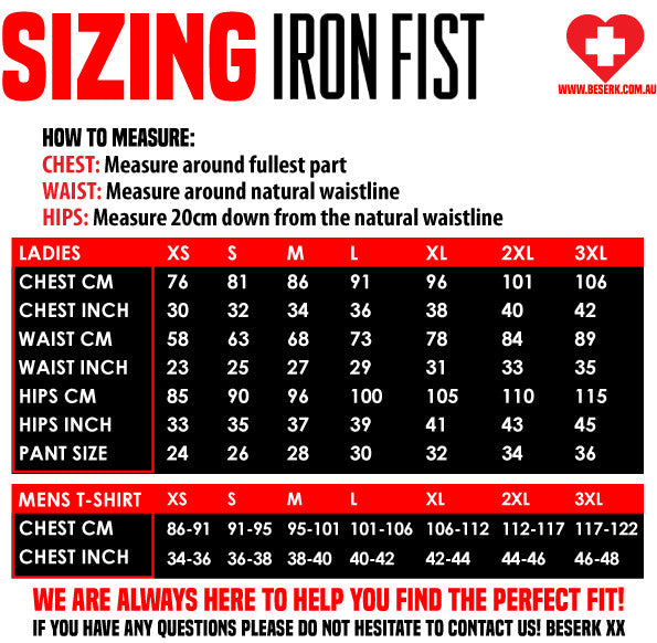 Iron Fist Sizing Guide