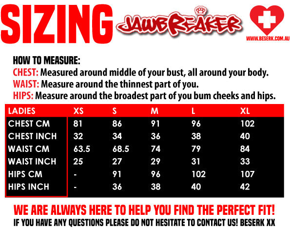 Jawbreaker Sizing Guide