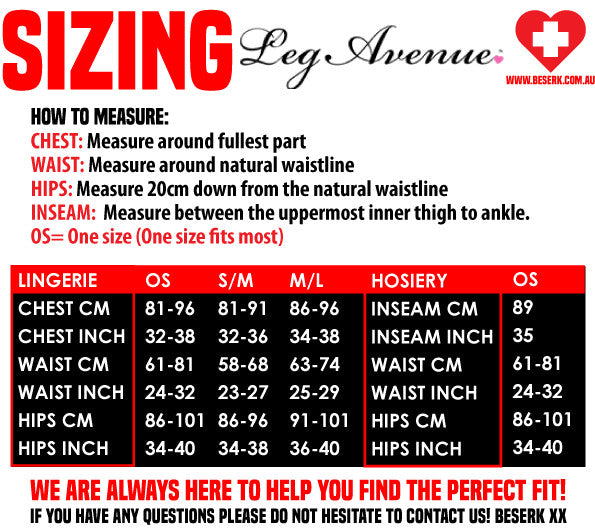 Leg Avenue Sizing Guide
