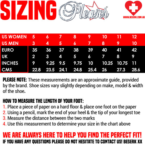 Pleaser Shoes Sizing Guide