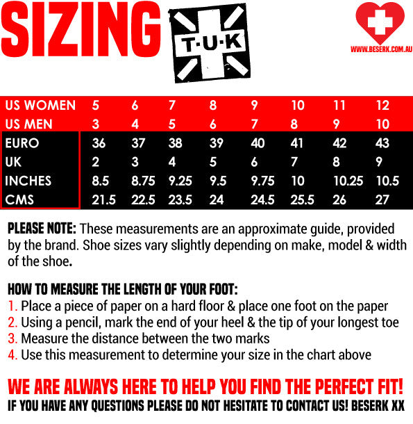 TUK Shoes Sizing Guide