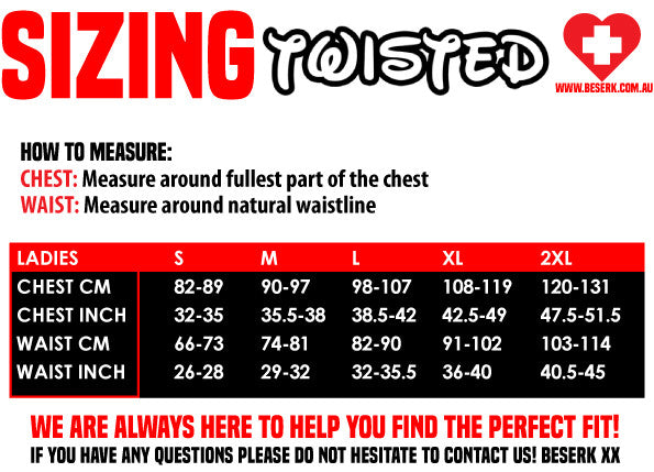 Twisted Sizing Guide