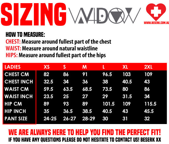 Widow Sizing Guide