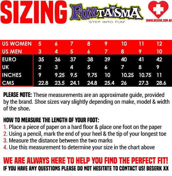 Funtasma Shoes Sizing Guide