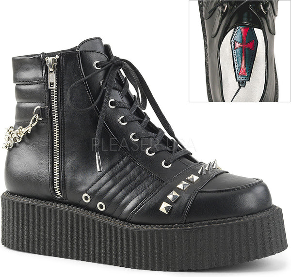 V-CREEPER-565 Black Vegan Leather