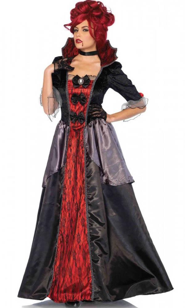 Blood Countess 2PC Costume includes satin and lace long victorian ball gown with stay up collar and matching choker.