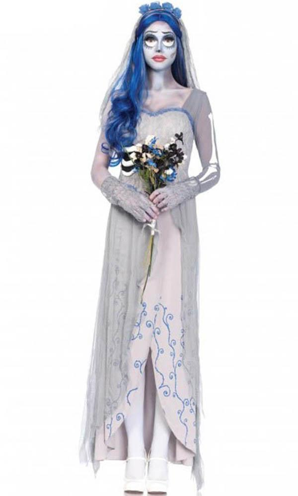Corpse Bride 4 piece costume includes dress with lace overlay and sheer bone sleeves, lace fingerless gloves, matching veil with rosettes and long wavy wig.