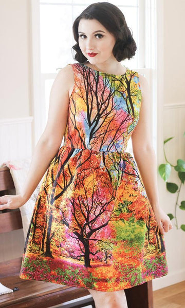 colorful forest dress