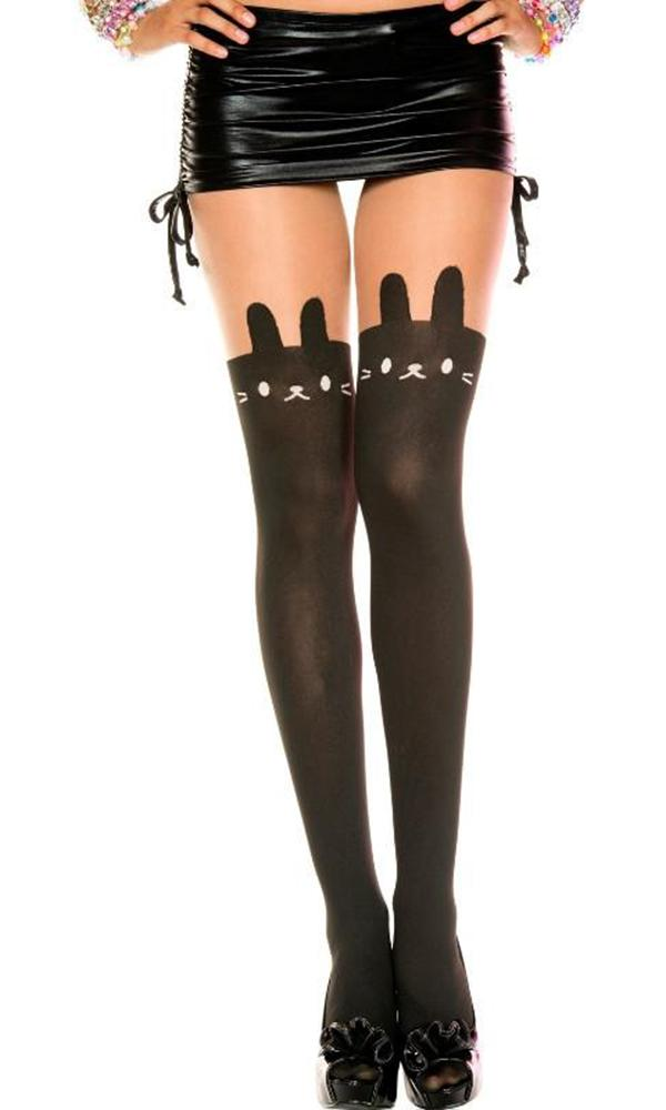 Faux Bunny Suspender Thigh High Look [Black] | PANTYHOSE