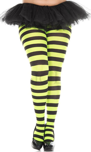 Opaque Wide Stripe [Black/Neon Green] | PANTYHOSE*