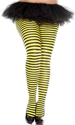 Opaque Striped [Black/Neon Yellow] | PANTYHOSE*