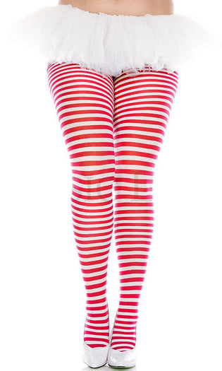 Opaque Striped [White/Red] | PANTYHOSE