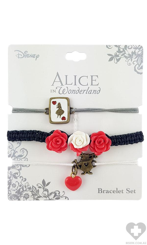 Alice In Wonderland | 3 Bracelet ROSE & CARD SET