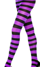 Opaque Wide Stripe [Black/Purple] | PANTYHOSE