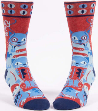 Crazy Cat Dude | CREW SOCKS MENS