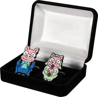 Simpsons | Pig Bride & Groom CUFFLINKS REPLICA