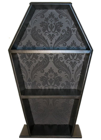 COFFIN SHELF | Damask Wallpaper Black
