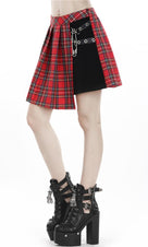 Pleated Grid Irregular Hem [Red] | SKIRT