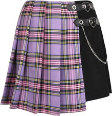 Purple Checked | PLEATED SKIRT