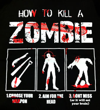 Darkside Clothing - How To Kill A Zombie Black Mens T-Shirt - 2