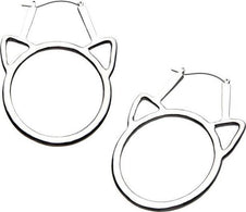 Cat Head Cutout | Plug Hoop EARRINGS