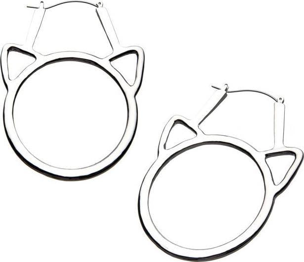Cat Head Cutout Plug Hoop | EARRINGS