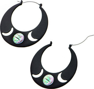 Cut Out Moon Plug Hoop [Black] | EARRINGS