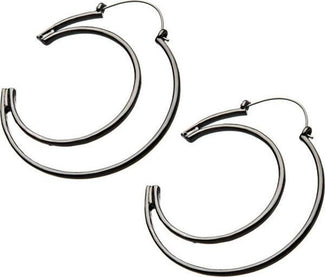 Cut Out Moon Plug Hoop | EARRINGS