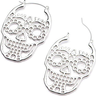 Cut Out Skull Plug Hoop | EARRINGS