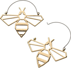 Gold Plated Bee Outline Plug Hoop | EARRINGS