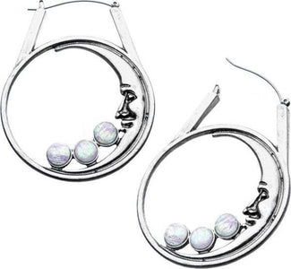 Moon Face Hoop [Silver/Opal] | EARRINGS
