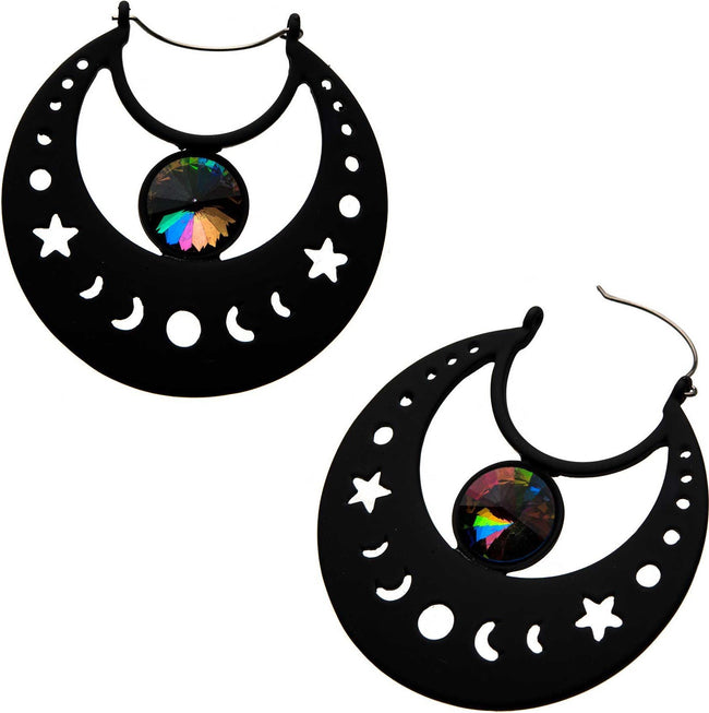 Moon Phase Gem Plug Hoop | EARRINGS