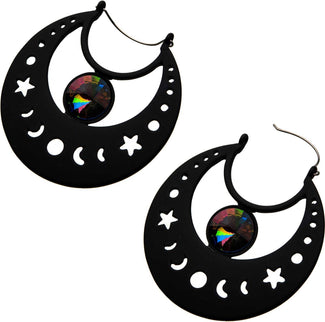 Moon Phase Plug Hoop Gem | EARRINGS