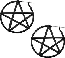 Matte Black Pentagram | PLUG HOOP EARRINGS
