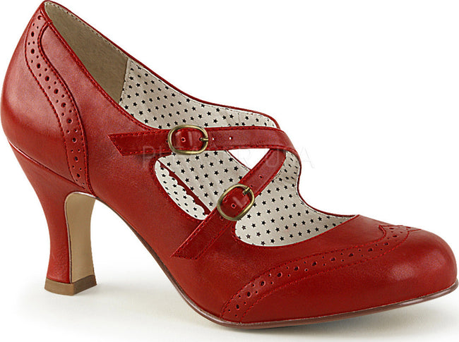 FLAPPER-35 Red Faux Leather