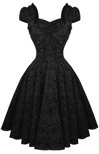 Black Flocked Victorian | DRESS PLUS SIZE