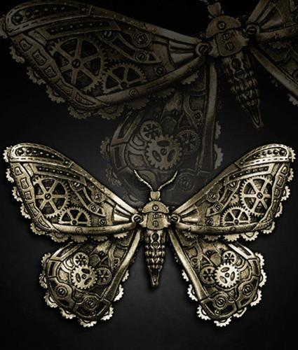 Mechanical Moth (Brass) Hair Clip