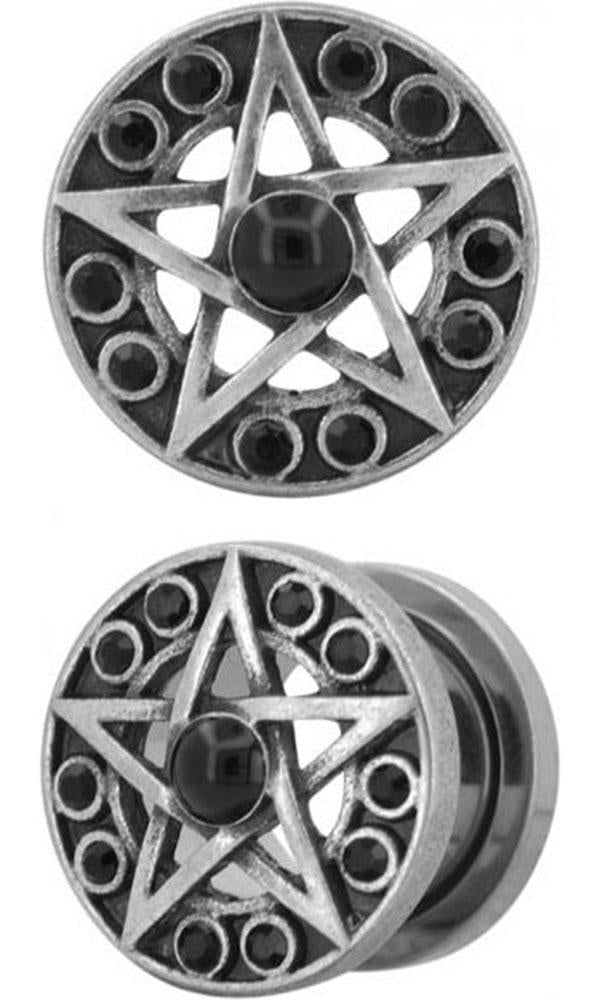 Antiqued Silver Star Shape [Pair] | PLUGS