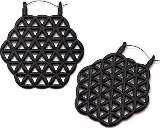 Flower Of Life [Black] | Plug HOOP EARRINGS