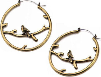 Bronze Perched Bird | Plug HOOP EARRINGS