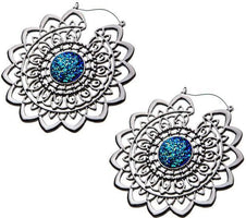 Mandala with Blue Druzy Plug Hoops | EARRINGS