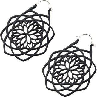 Matte Black Mandala | Plug HOOP EARRINGS