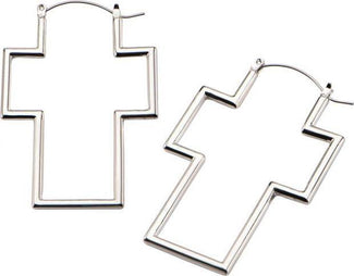 Silver Cross | Plug HOOP EARRINGS