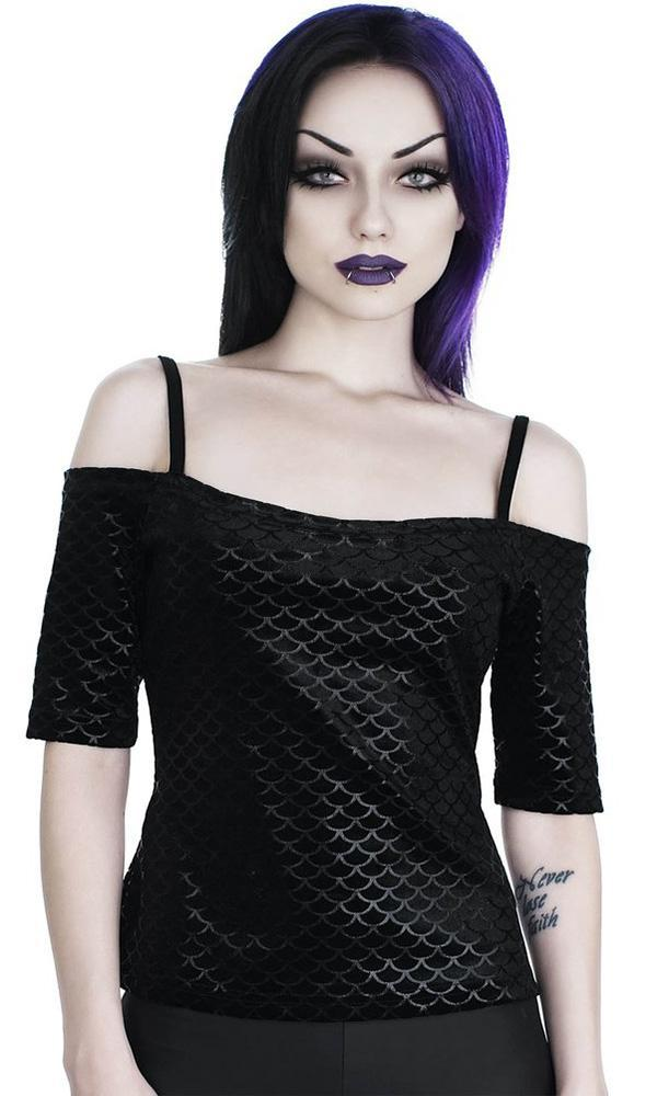 24fe312e4b688c Killstar - Black Sea Bardot Top - Buy Online Australia – Beserk
