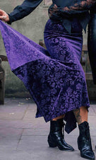 Roses Are Dead [Plum] | VELVET MAXI SKIRT