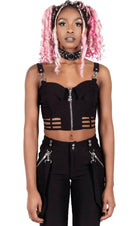 She's Cagey [Black] | CROP TOP