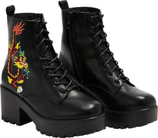 Drogo Embroidered Platform Military | BOOTS