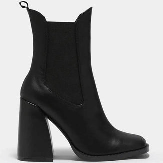 Lotus Pull On Block [Black] | HEEL BOOTS