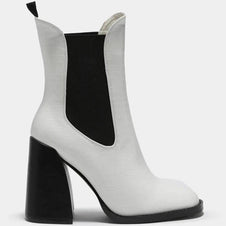Lotus Pull On Block [White] | HEEL BOOTS